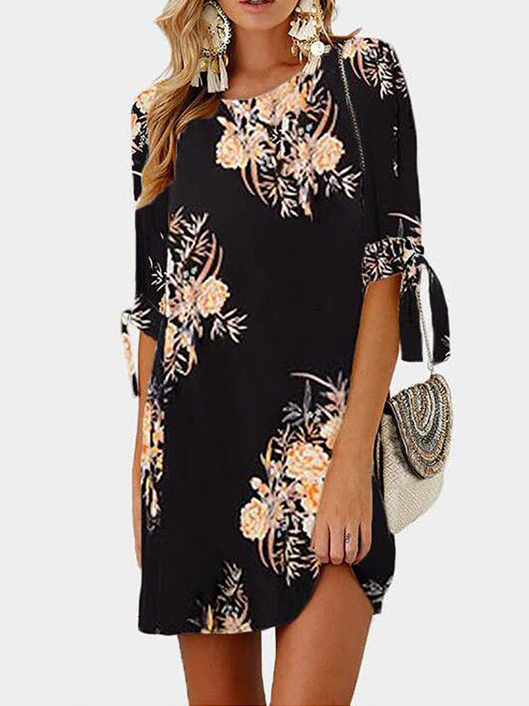 Women Crew Neck Half Sleeve Floral Chiffon Dress