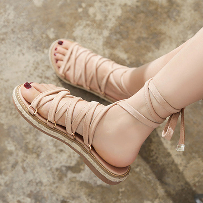 Women Summer Daily Lace Up Flat Heel Peep Toe Sandals