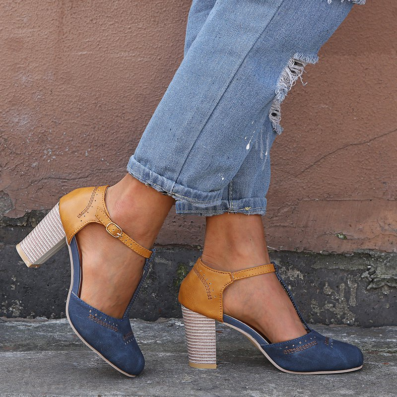 5876d837b59 Blue Orange Women Vintage Color Block Sandals T-Strap Chunky Heel Buckle  Shoes