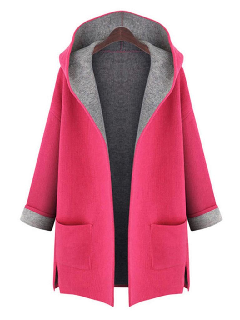 Casual Pockets Hoodie H-line 3/4 Sleeve Plain Plus Size Coat