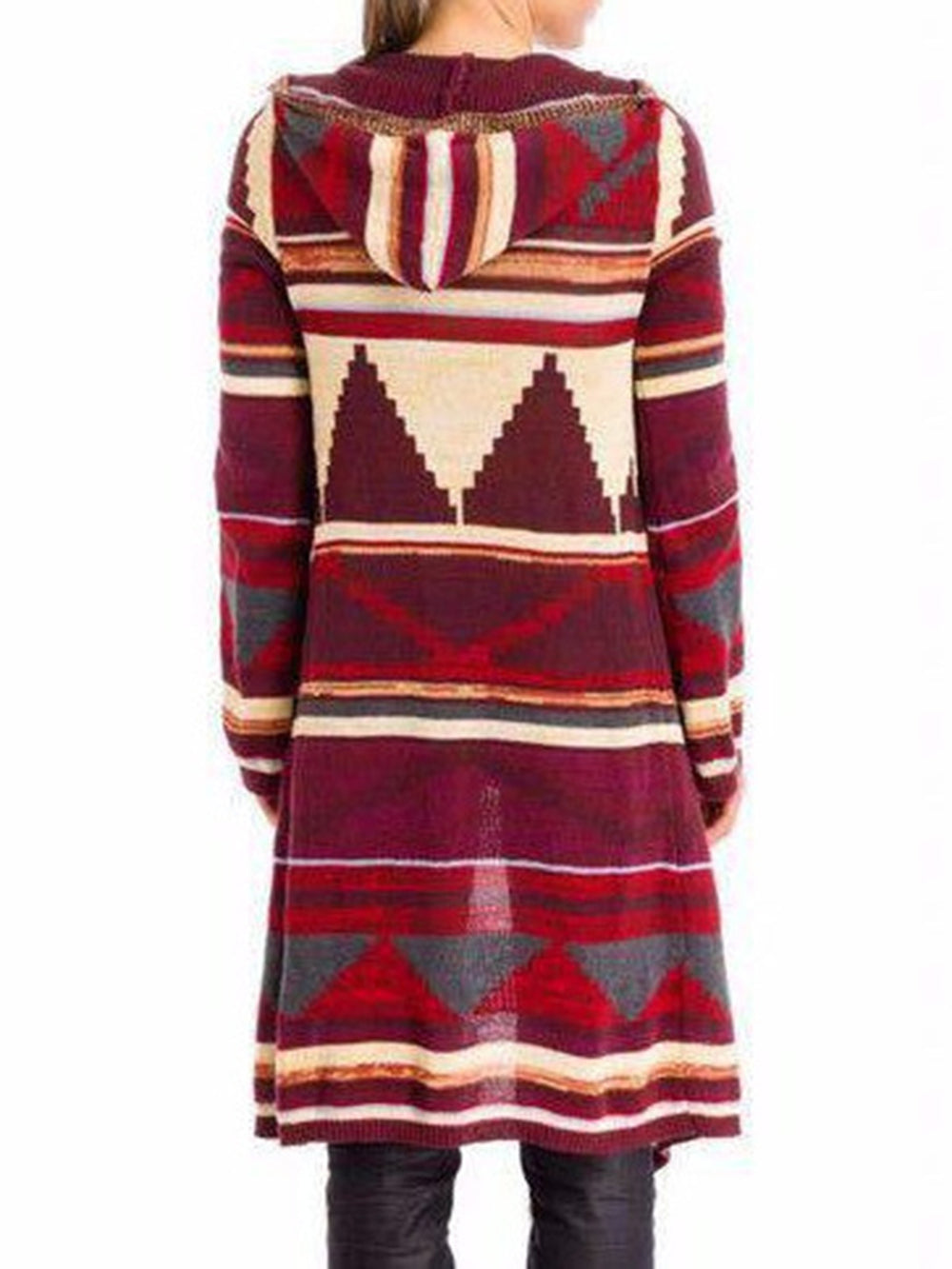 Red Casual Geometric Cotton Cardigans