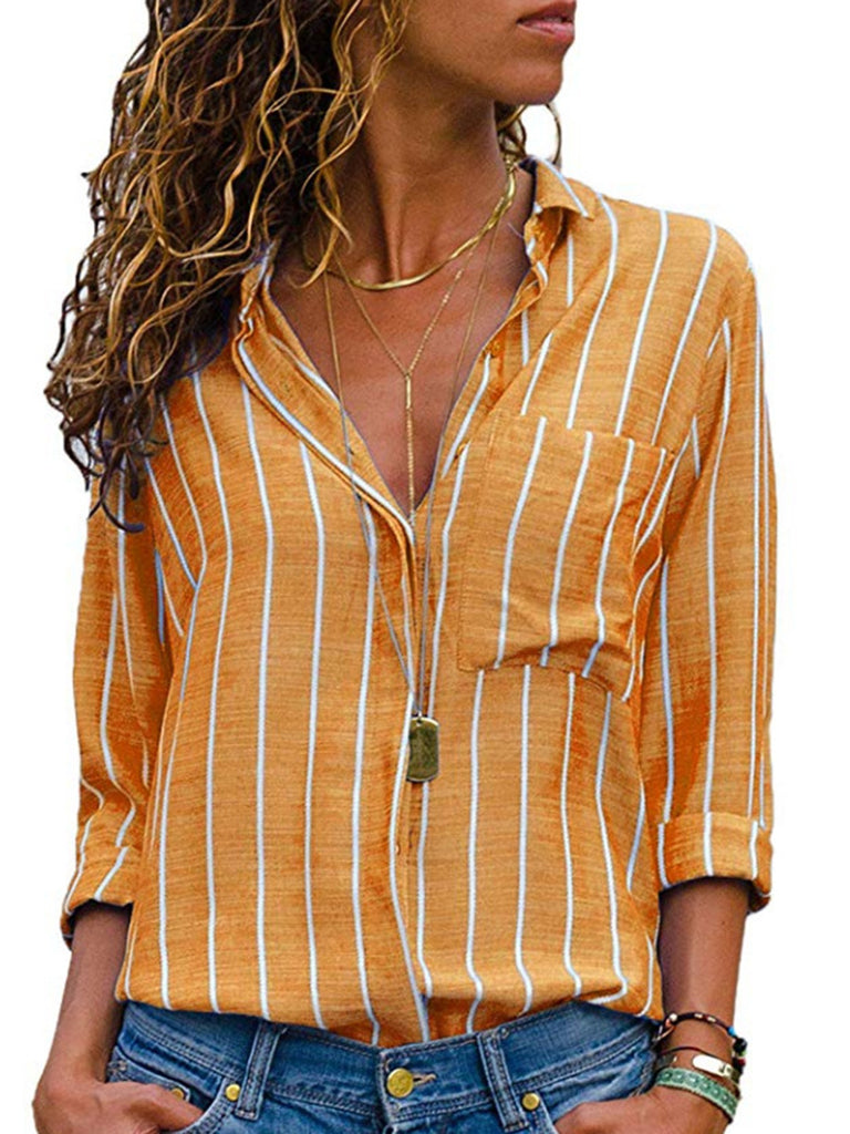 Striped Cotton Paneled Casual Blouses