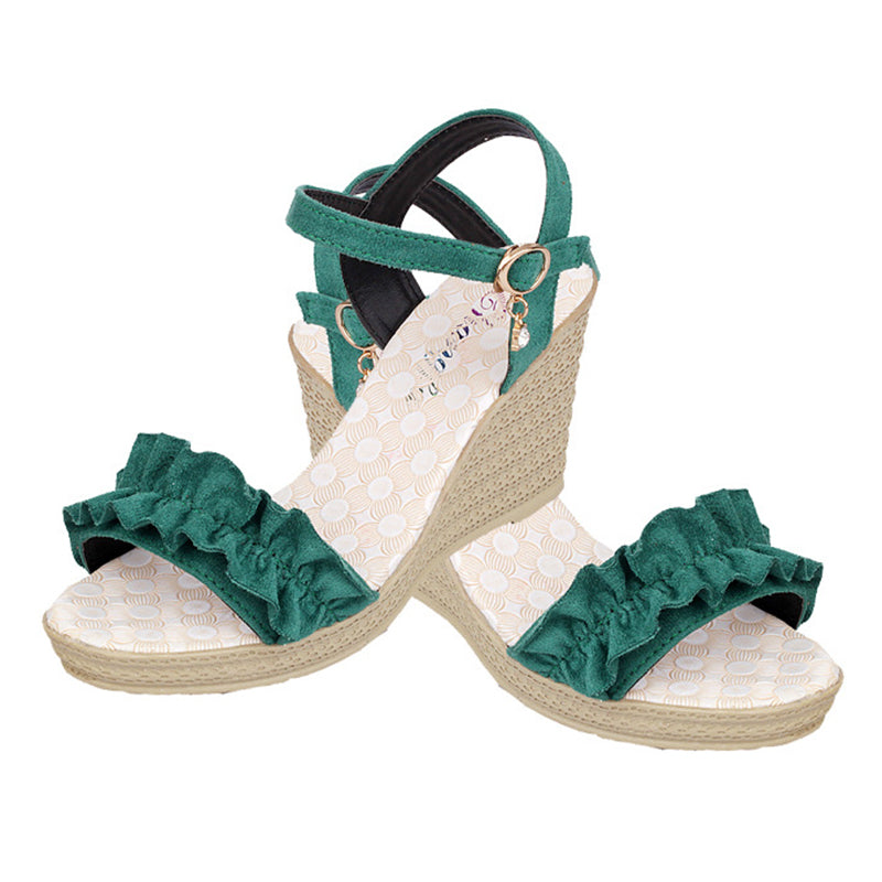 Wome's Ruffles Wedge Heel Peep Toe Sandals