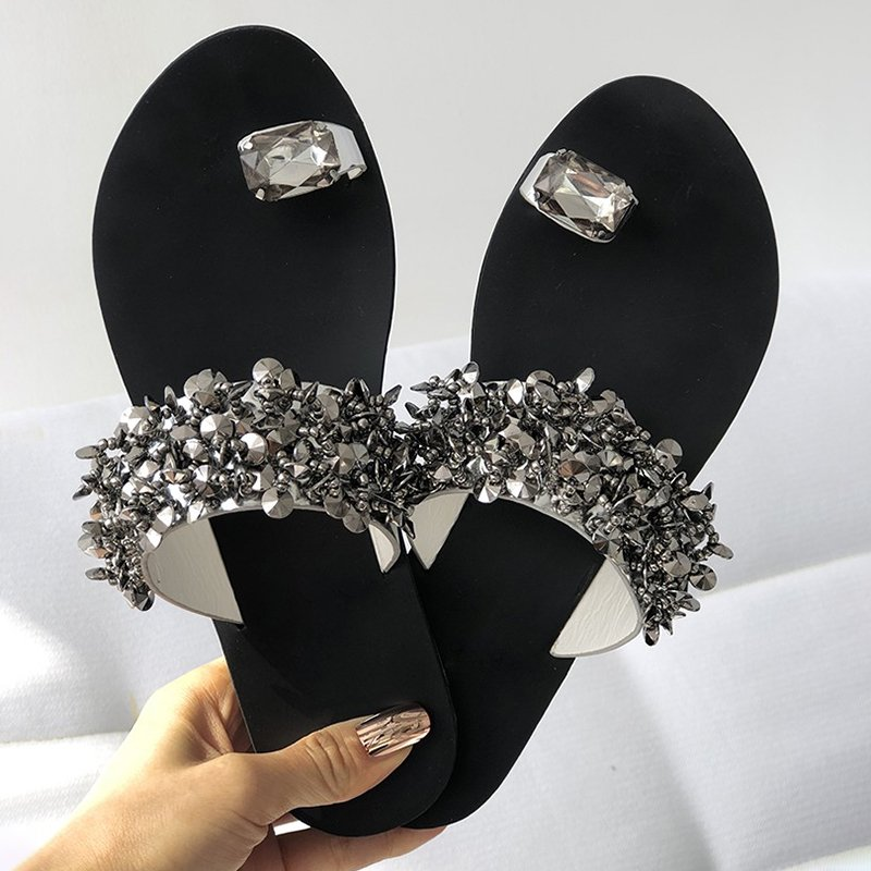 Women's Faux Rhinestone Toe Ring Flat Plus SIze Sandals