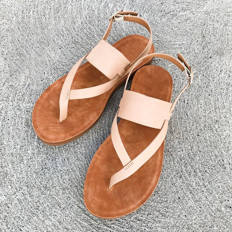 Plus Size Ladies Buckle Strap Design Flip Flops Sandals