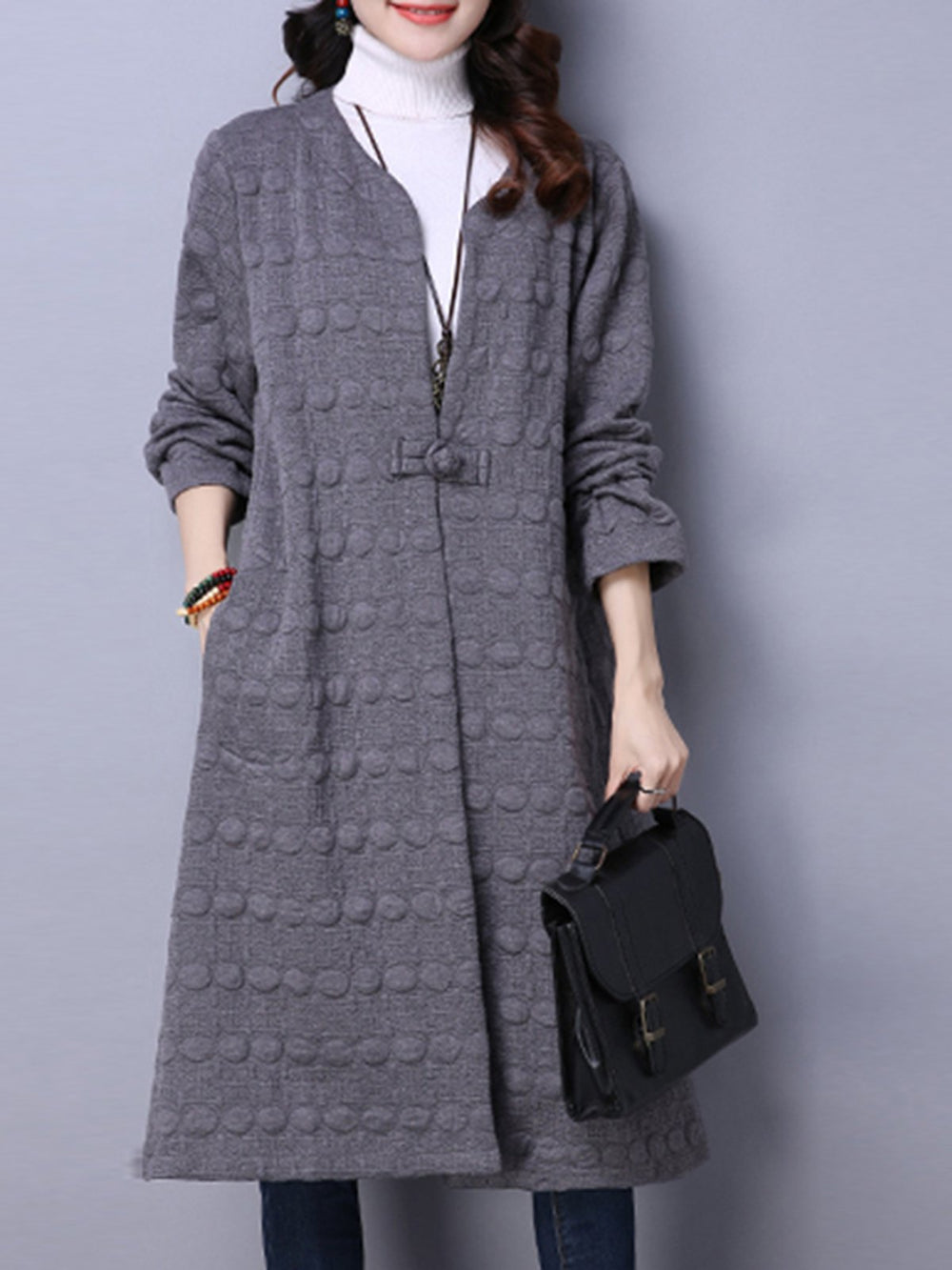 Casual Long Sleeve Embossed Solid Pockets Plus Size Coat