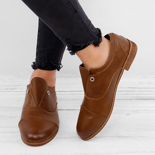 Women Plus Size Oxford Shoes Casual Faux Leather Loafers