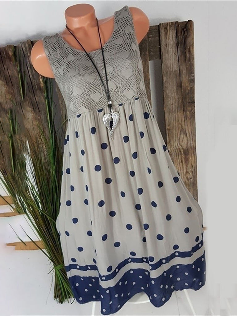 Sleeveless Solid Lace Casual Dresses
