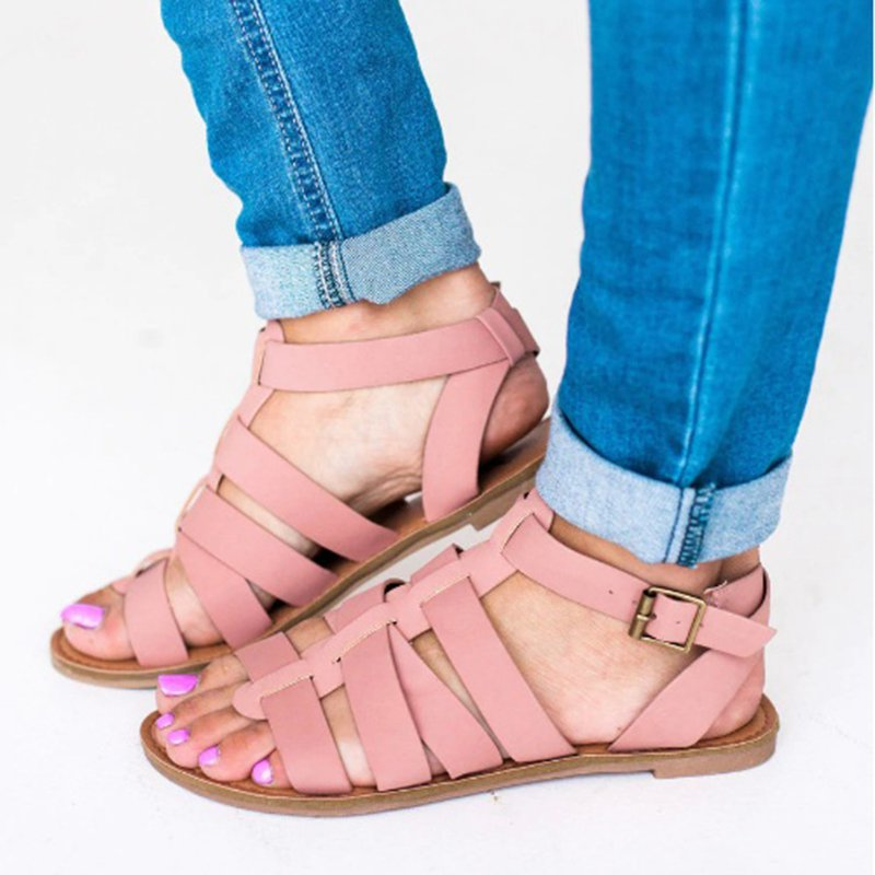 Women Leather Sandals Casual Adjustable Buckle Shoes