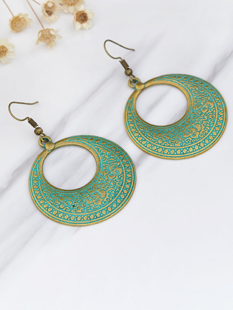 Womens Vintage Round Alloy Earrings