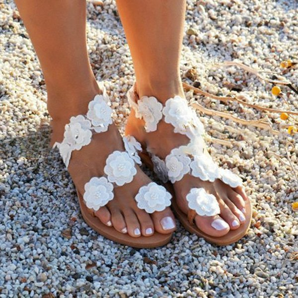 Women Beach Flowers Sandals Casual Flip Flops Flat Shoes