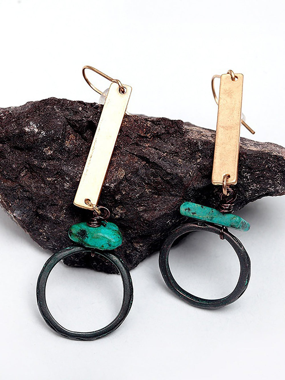 Natural Turquoise Drop Earrings Antique Gold Earrings