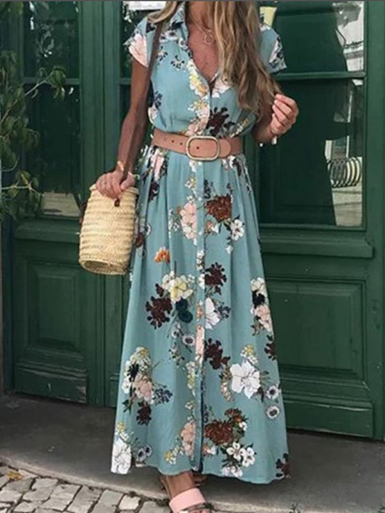 Women Plus Size Maxi Floral Shirt Collar Linen Dresses