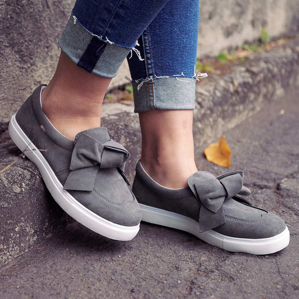 Women Slip-On Loafers Plus Size Bowknot Flat Casual Shoes