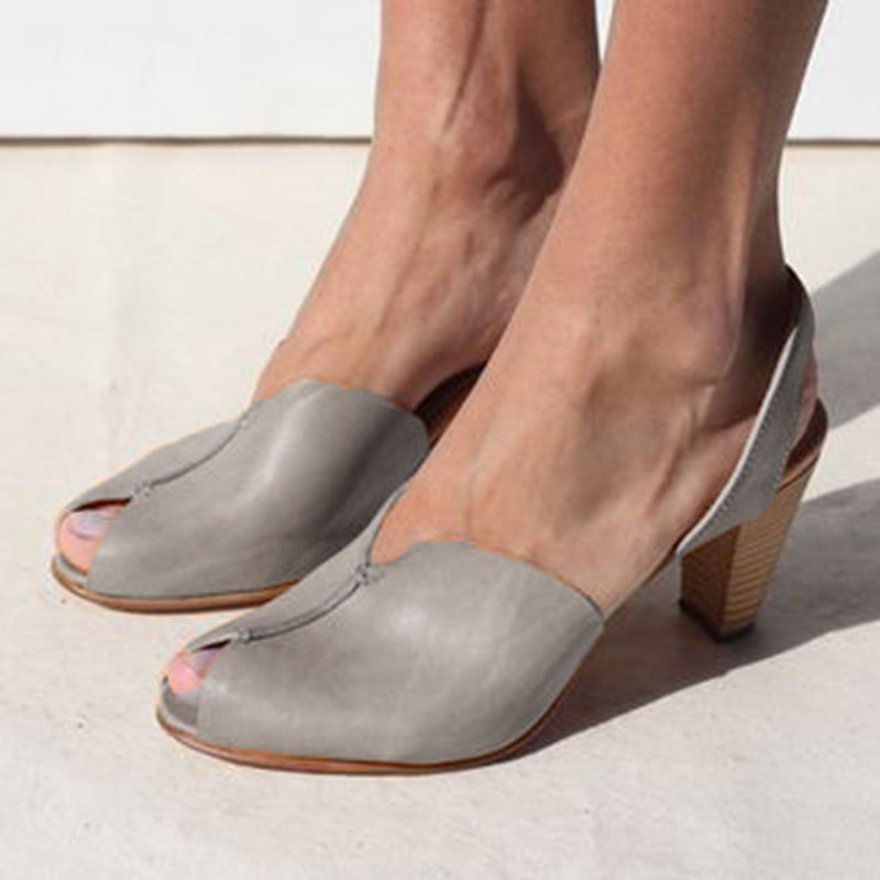Grey leather Sling Back Shoes Peep Toe Clogs Mid Chunky Heel Casual D'Orsay Sandals