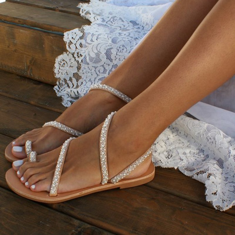 Wedding Beach Sandals Bridal Boho Flat Pearl Flip-Flop Shoes