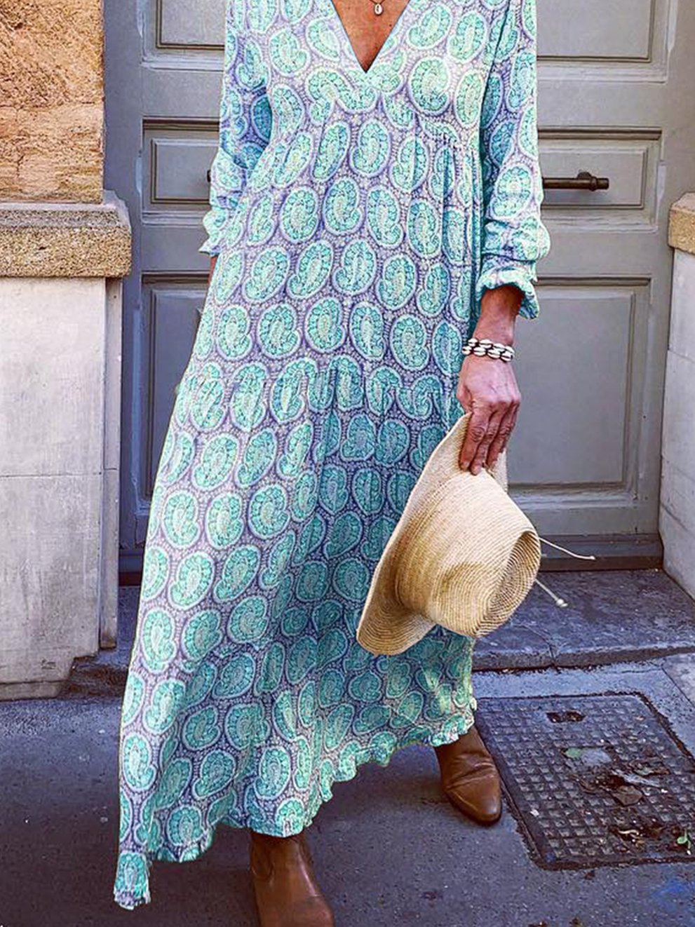 Empire Maxi Dress V Neck  Long Sleeve Floral Casual Long Dress