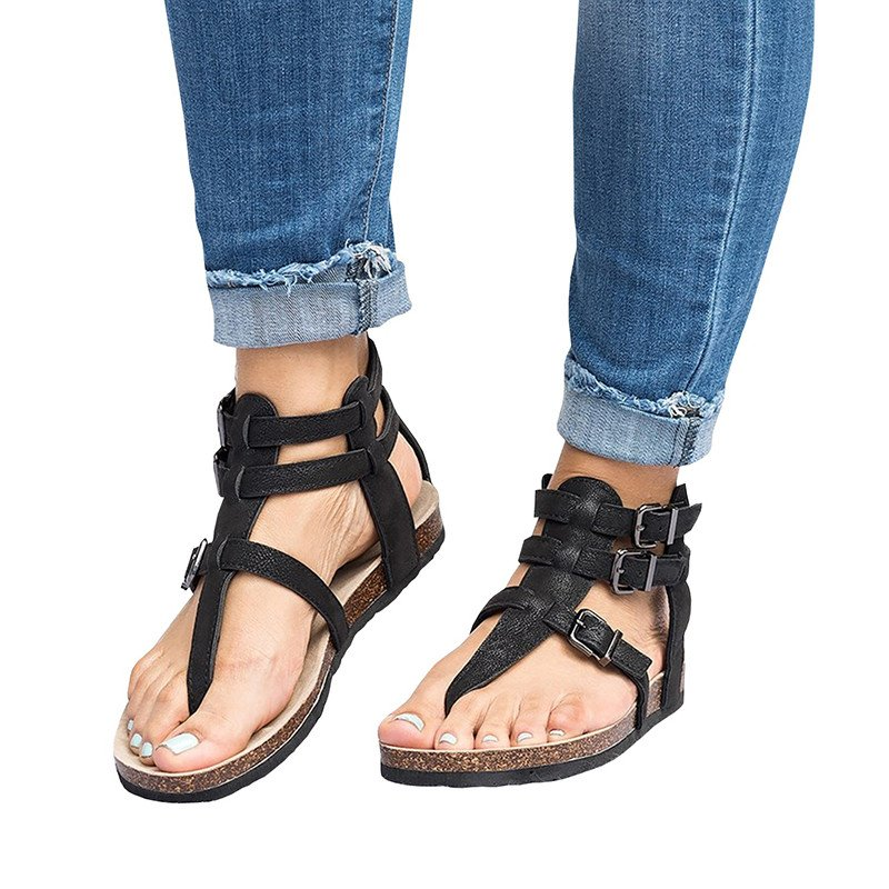 Daily Adjustable Buckle Flat Heel Summer Shoes