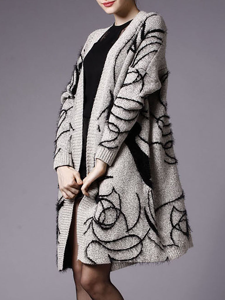 Gray Statement  Wool Shift  Casual Abstract Cardigans