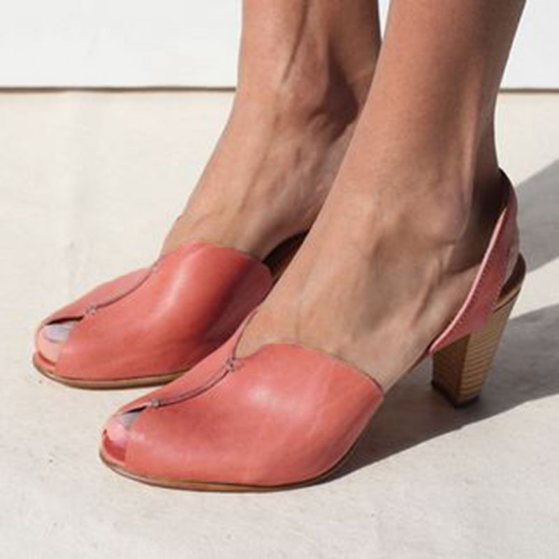 Pink leather Sling Back Shoes Peep Toe Clogs Mid Chunky Heel Casual D'Orsay Sandals