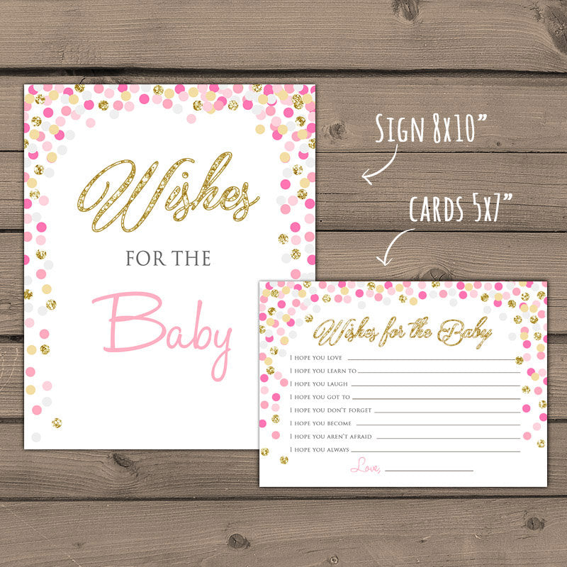 Baby shower Wishes for Baby game Instant download Pink and Gold baby shower Gold glitter confetti Baby wishes card PRINTABLE 0014
