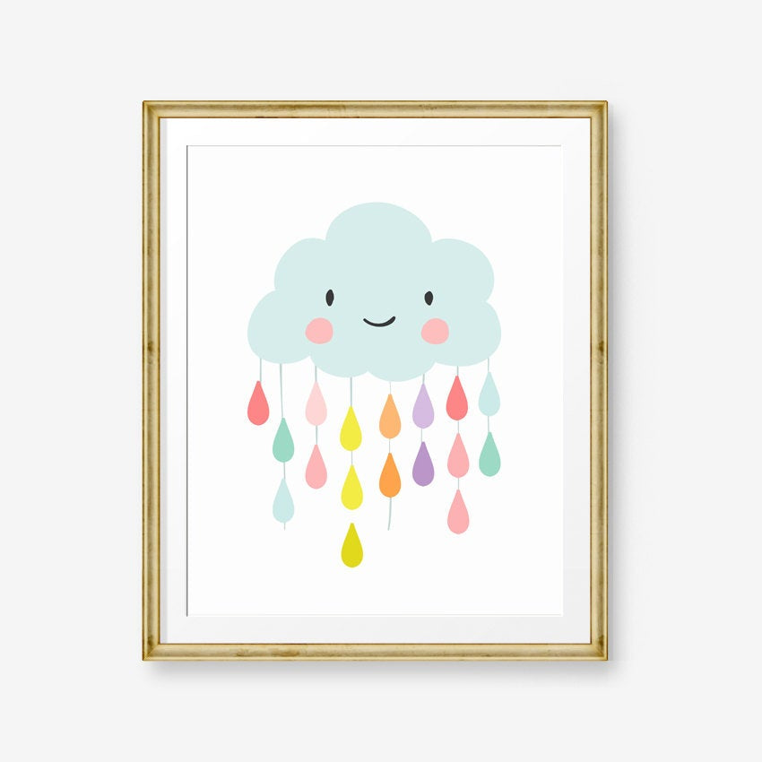 Rain Cloud nursery decor Raindrops nursery print Cloud wall art Neutral Boy Girl Cloud print Baby shower gift Kids room PRINTABLE 0036