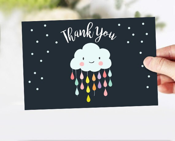 "Baby Shower Thank you Card Cloud Thank You Note 4x6"" Rain Cloud Raindrop Showered with Love Sprinkle Navy Neutral Instant Download 0036"