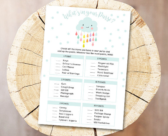 Cloud Baby Shower Game What's in Your Purse Game Cards Raindrops Rain Drops Neutral Download Printable Baby Game Shower Activities DIY 0036