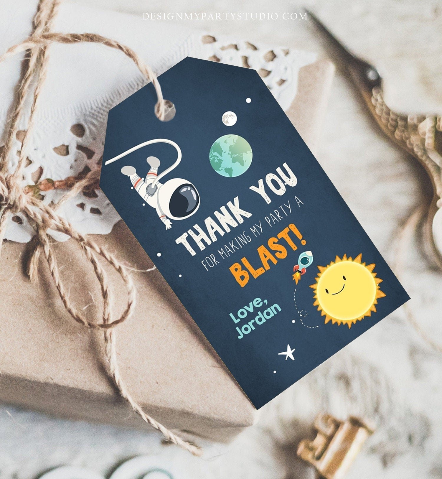 Editable Outer Space Favor Tags Space Birthday Thank you tags Label Rocket Gift tags Astronaut Party Shower Template Corjl PRINTABLE 0046