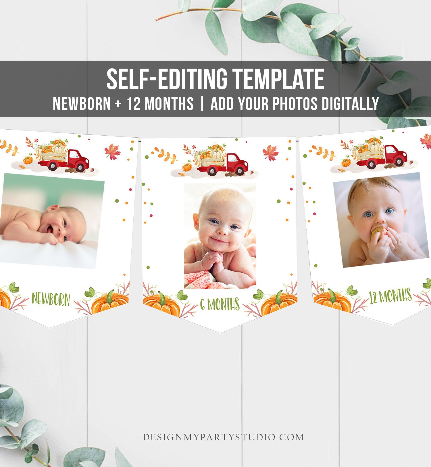 Editable Pumpkin First Birthday Banner Monthly Photo Banner Red Pumpkin Truck Banner Pumpkin Birthday Boy Fall Autumn PRINTABLE Corjl 0153