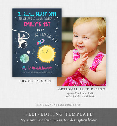 Editable Outer Space Birthday Invitation Girl Rocket Astronaut First Birthday Blast Off Download Printable Template Digital Corjl 0046