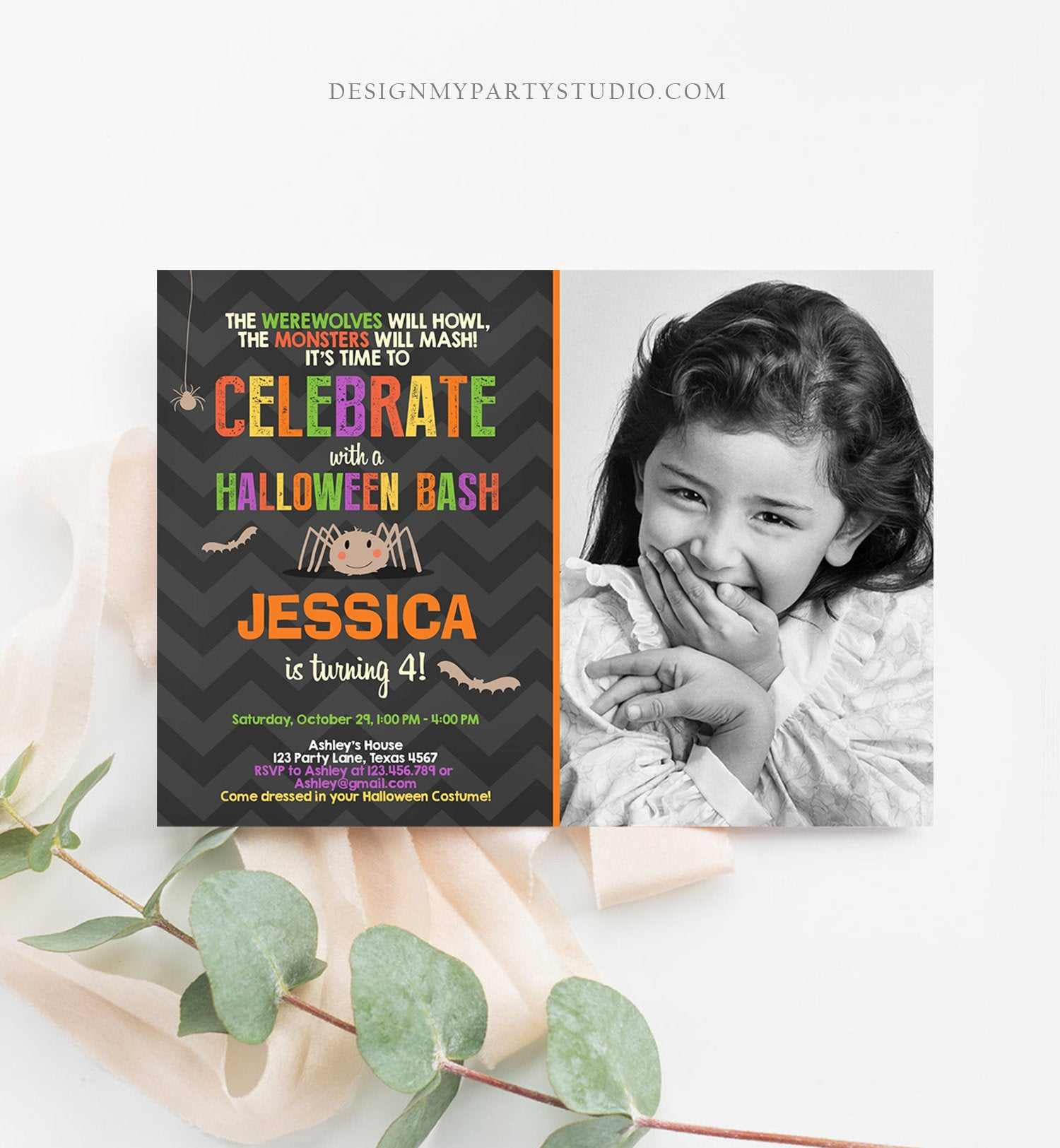 Editable Halloween Birthday Invitation Costume Party Spider Girl Download Printable Invite Template Editable Corjl Digital 0257