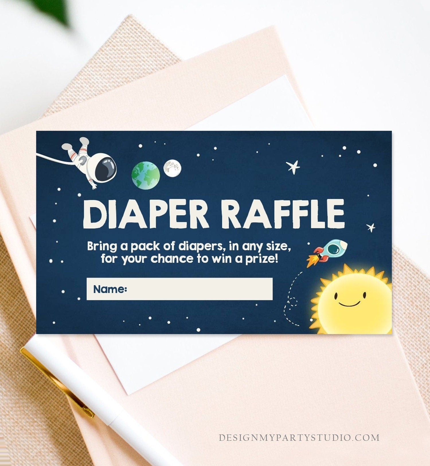 Editable Space Diaper Raffle Ticket Outer Space Baby shower Diaper Game Astronaut Diaper Ticket Shower Game Template PRINTABLE Corjl 0046
