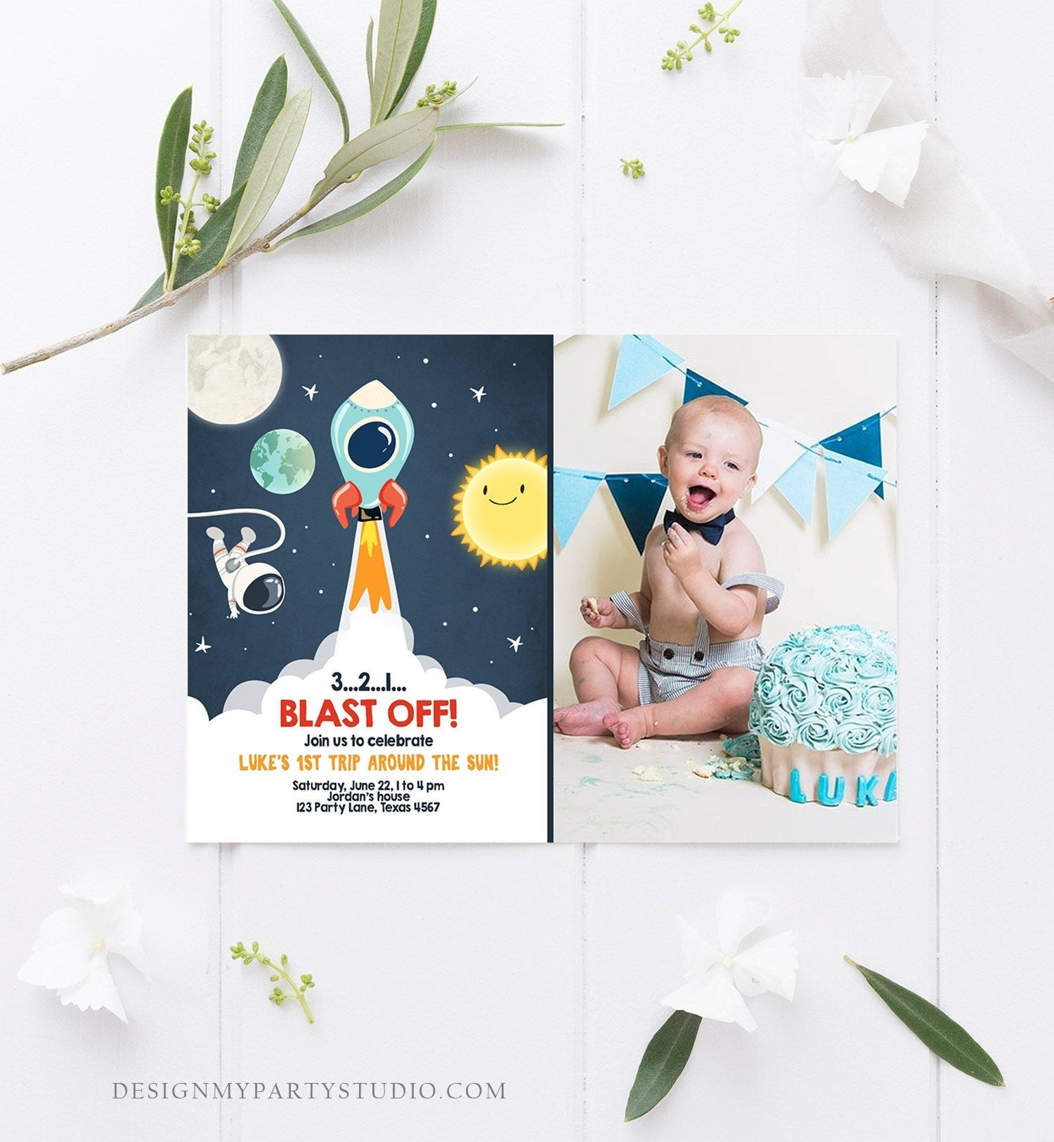 Editable Outer Space Birthday Invitation Rocket Astronaut Birthday Space Ship Blast Off Download Printable Template Digital Corjl 0046