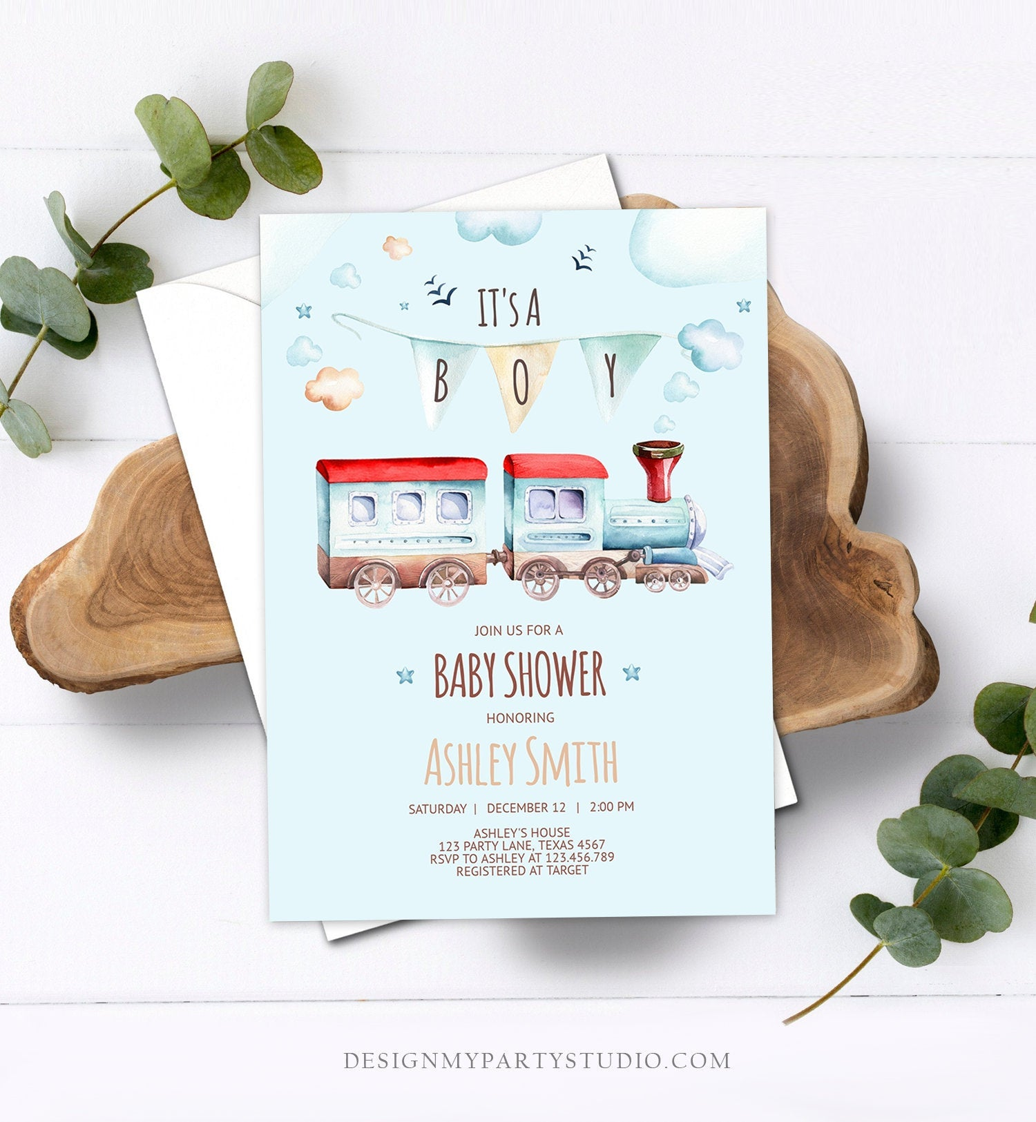 Editable Vintage Train Baby Shower Invitation Red Blue Vintage Chugga Chugga Choo Choo It's a Boy Clouds Stars Printable Template Corjl 0149