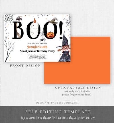 Editable Halloween Birthday Invitation Costume Trick or Treat Party Kids Spooktacular Witch Hat Party Download Printable Template Corjl 0261