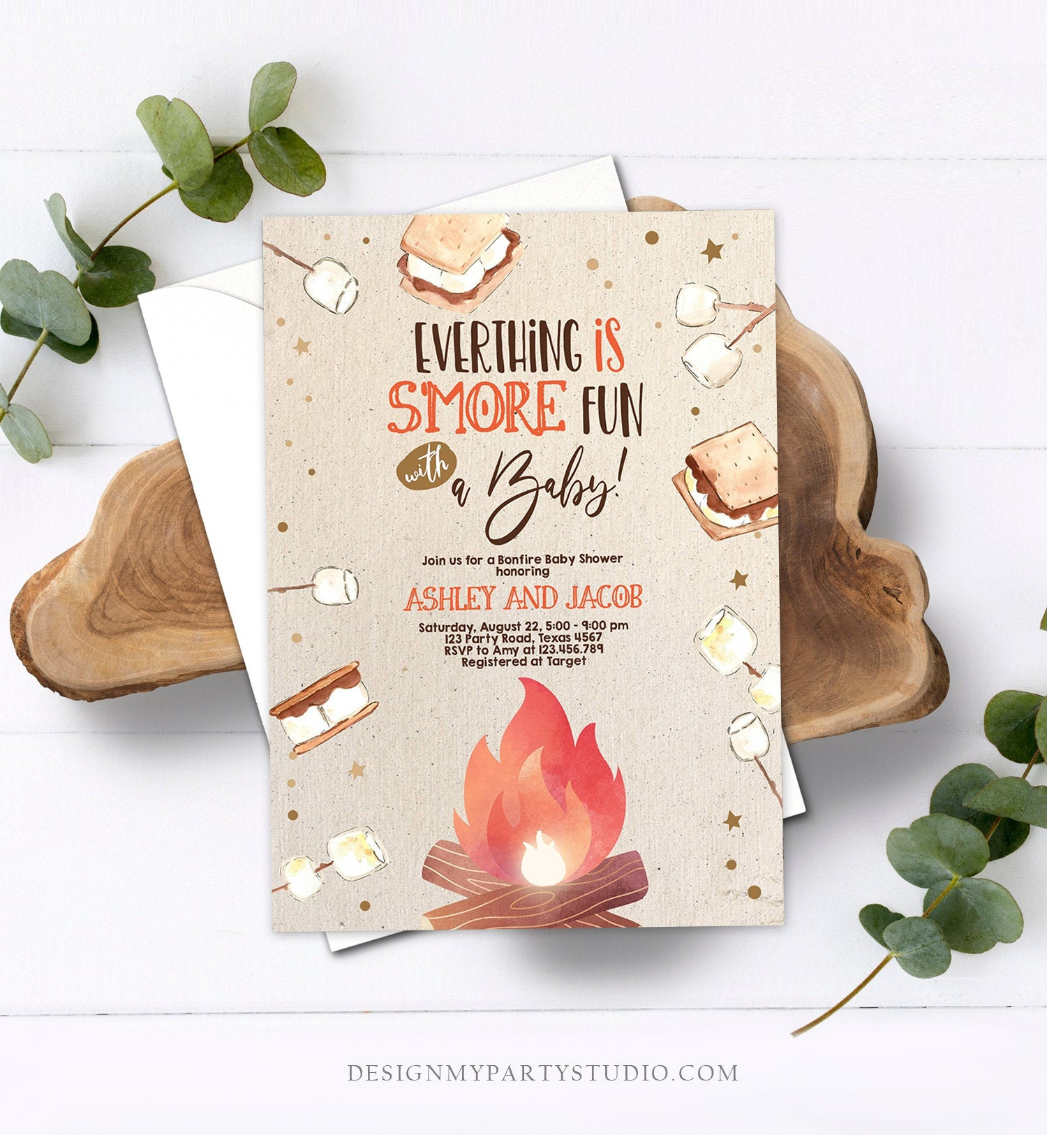 Editable S'more Baby Shower Invitation Bonfire Baby Shower Autumn Couples Shower Invite Fall Smores Neutral Printable Template Corjl 0179