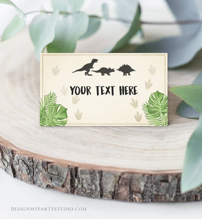 Editable Dinosaur Food Labels Dinosaur Party Place Card Tent Card Escort Card Dino Birthday Boy T-Rex Prehistoric Template Corjl 0043