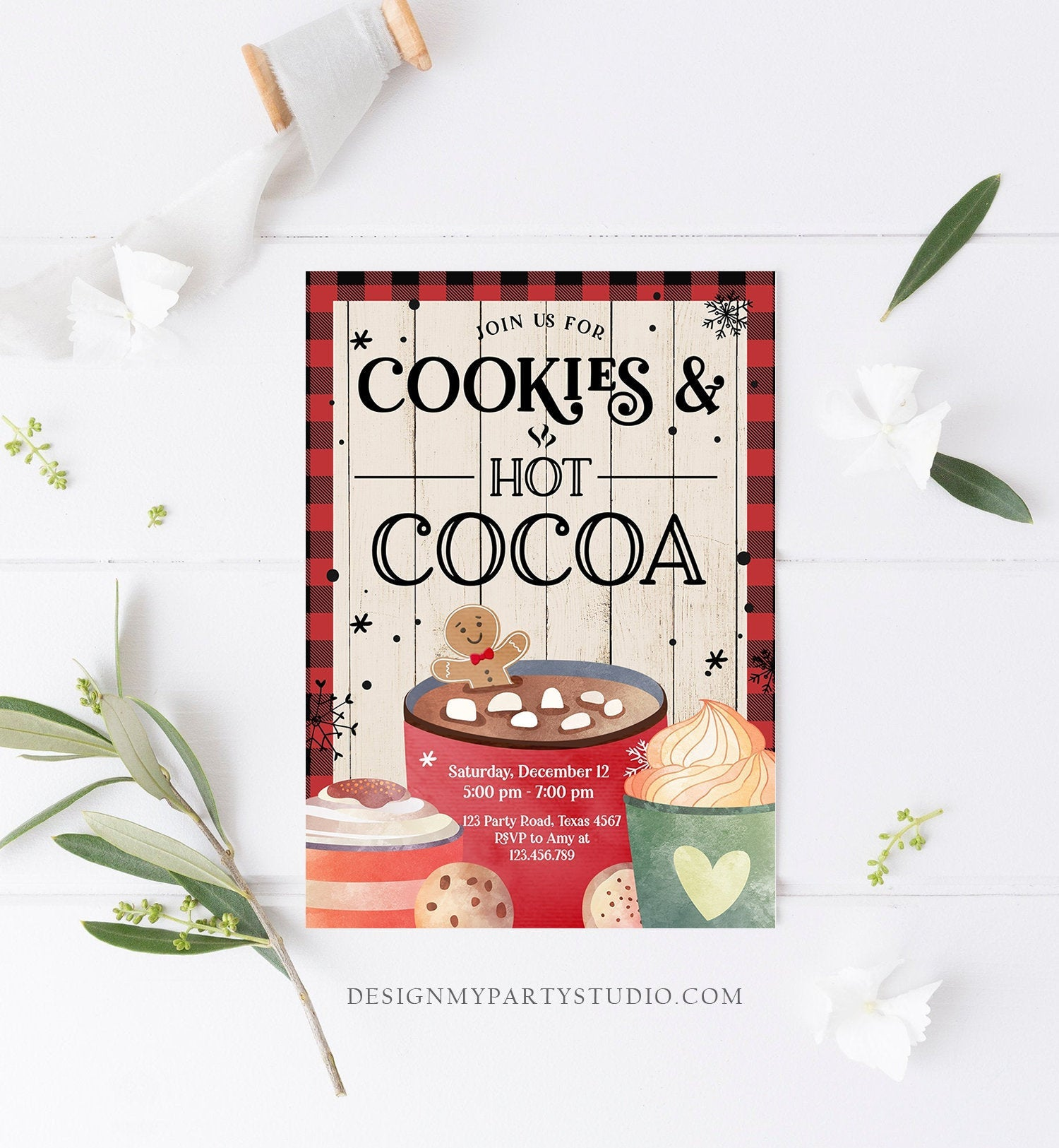 Editable Cookies and Cocoa Invitation Hot Cocoa Party Invite Hot Chocolate Birthday Lumberjack Plaid Download Printable Template Corjl 0262