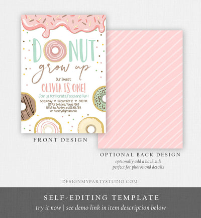 Editable Donut Grow Up Birthday Invitation First Birthday Party Pink Girl Doughnut Sweet Digital Download Printable Template Corjl 0320