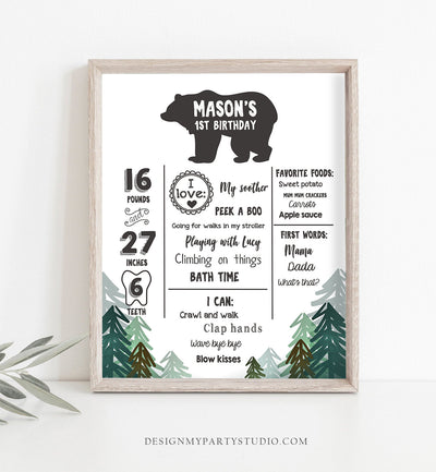 Editable Lumberjack Birthday Milestones Sign Pine Tree Stat Poster Infographic Woodland 1st Birthday Bear Template Printable Corjl 0026