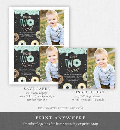 Editable Donut Two Sweet Birthday Invitation Second Birthday Party Blue Boy Doughnut 2nd Pastel Chalk Download Printable Template Corjl 0050