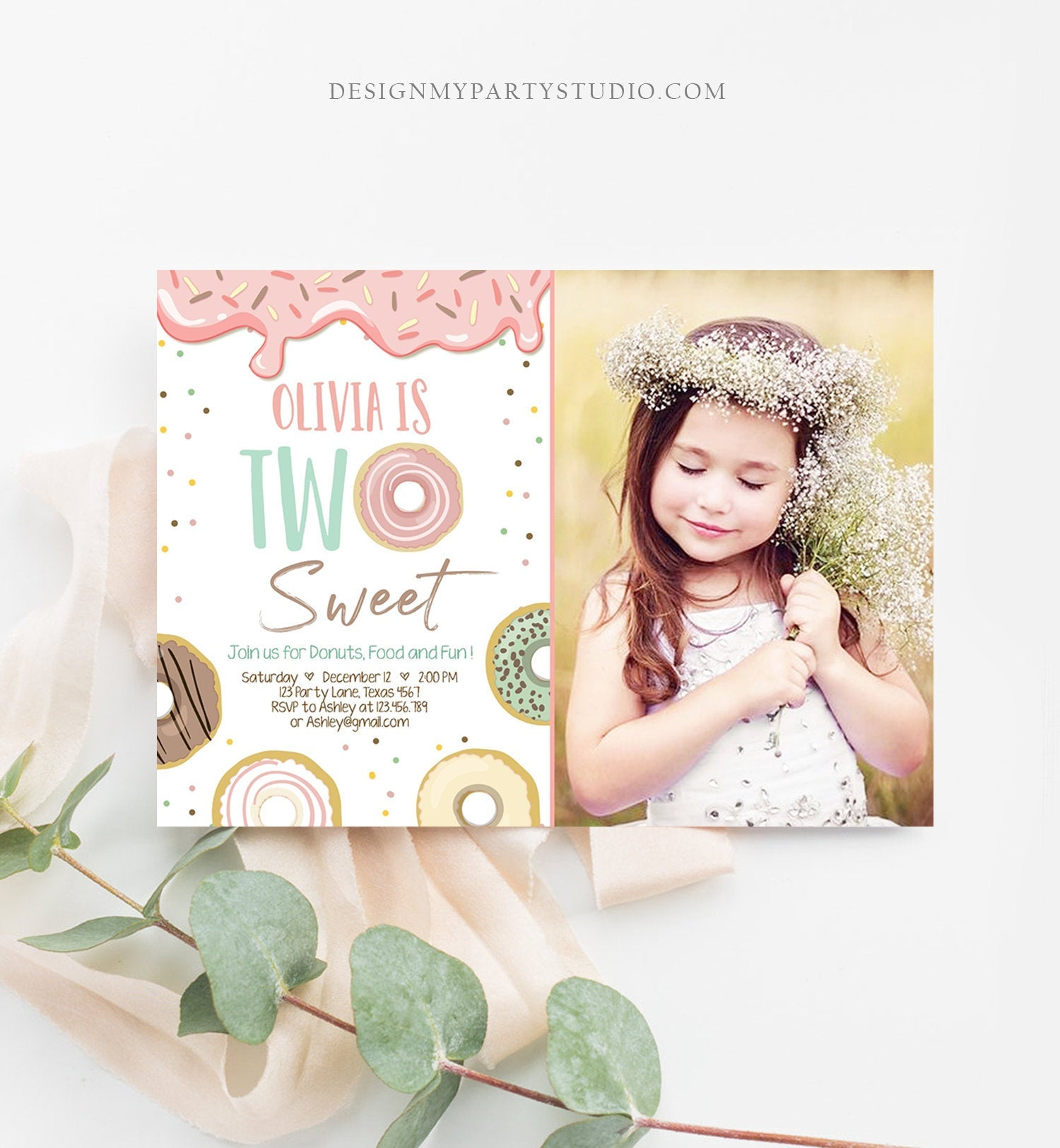 Editable Two Sweet Donut Birthday Invitation 2nd Birthday Girl Doughnut Second Birthday Photo Printable Download Template Corjl Digital 0320