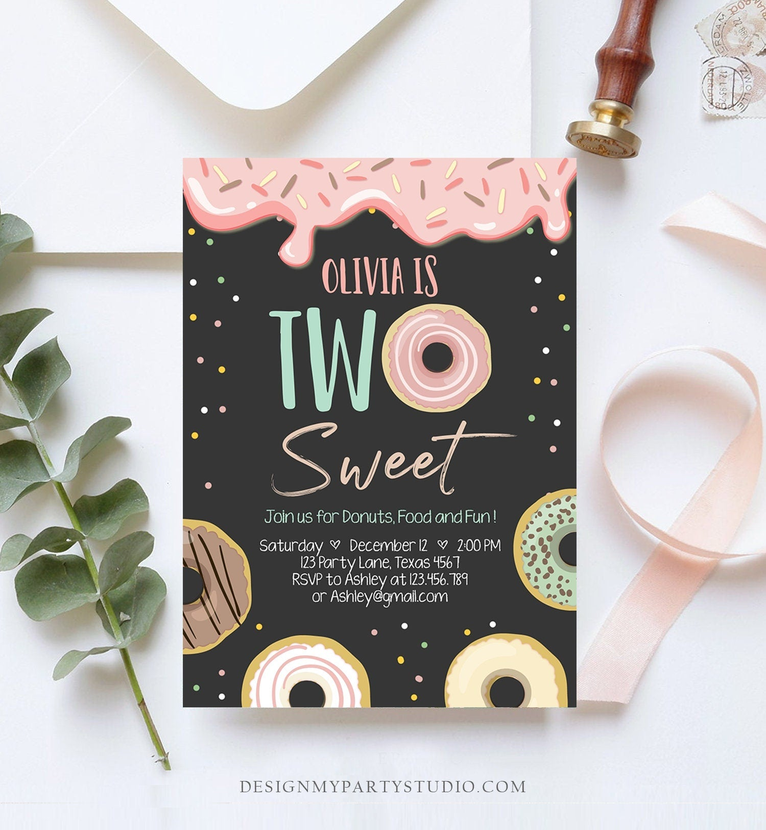 Editable Donut Two Sweet Birthday Invitation Second Birthday Party Pink Girl Doughnut 2nd Digital Download Printable Template Corjl 0320