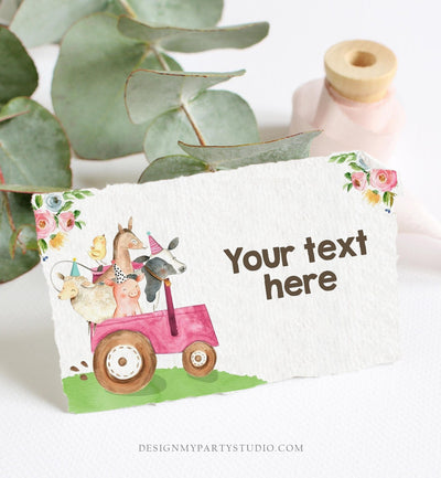 Editable Farm Animals Food Labels Barnyard Birthday Food Cards Tent Card Pink Farm Girl Shower Buffet Label Tent Card Template Corjl 0155