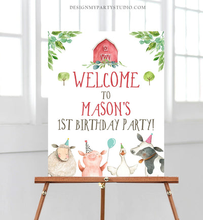 Editable Farm Birthday Welcome Sign Boy Barnyard Birthday Welcome Sign Farm Animals Birthday Welcome Boy Template Corjl PRINTABLE 0155