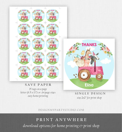 Editable Farm Animals Thank you Tags Girls Barnyard Birthday Stickers Farm Birthday Decor Pink Favor Tags Cow Pig Template Corjl 0155