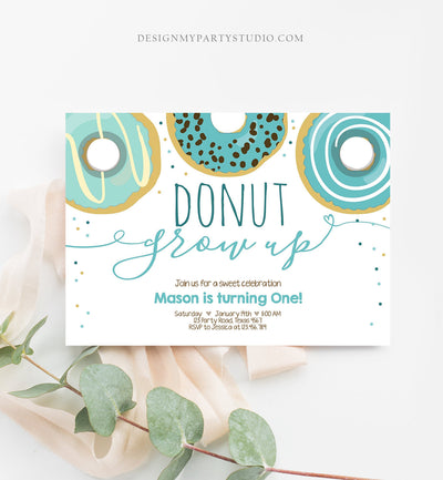 Editable Donut Grow Up Birthday Invitation First Birthday Party Blue Boy Doughnut 1st Pastel Photo Download Printable Template Corjl 0050