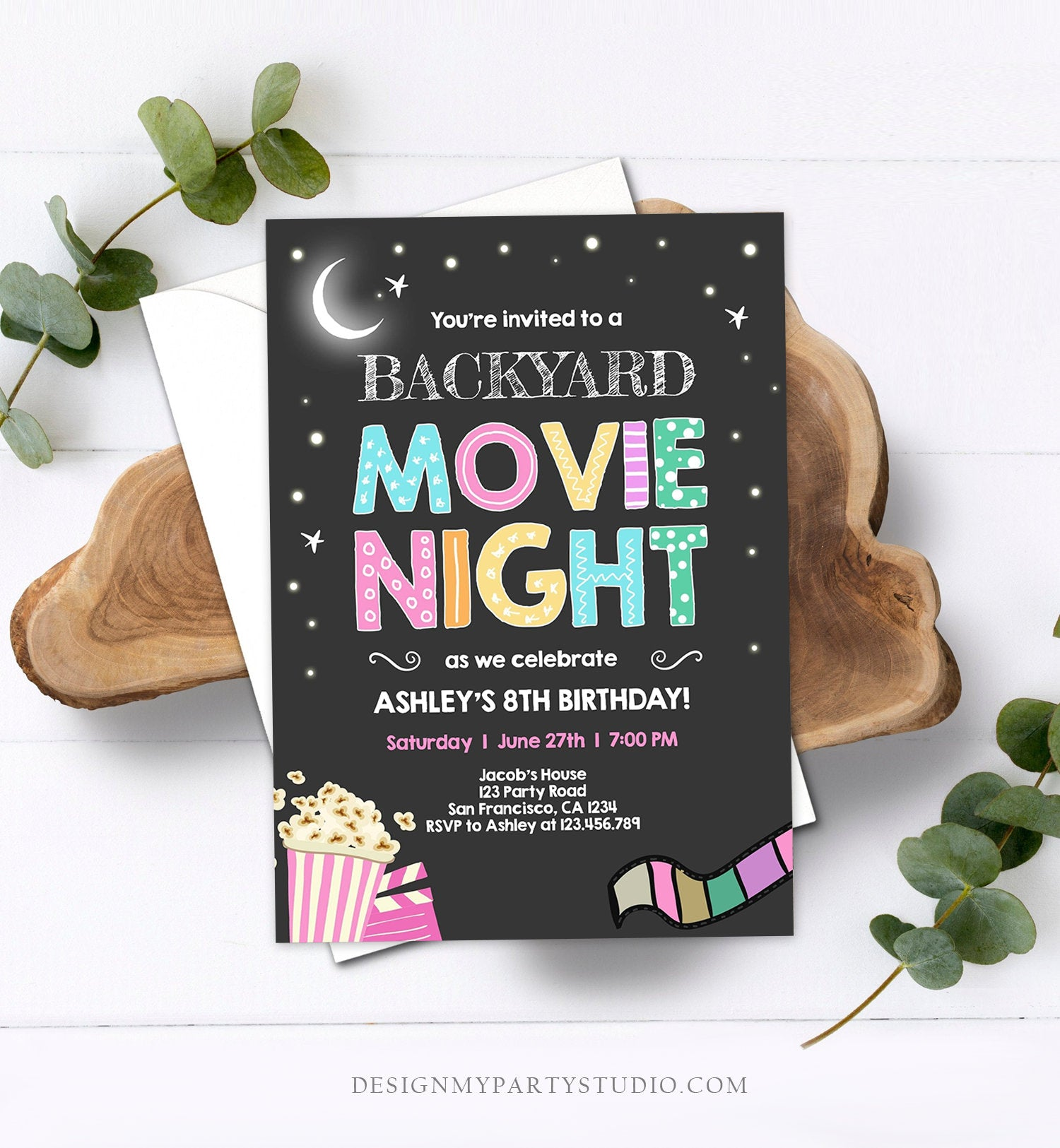 Editable Movie Night Birthday Invitation Girls Movie Slumber Party Backyard Movie Party Popcorn Download Printable Template Corjl 0042