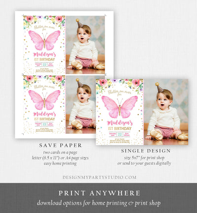 Editable Butterfly Birthday Invitation Butterfly Invitation Garden Floral Flowers Pink Gold Girl Download Printable Template Corjl 0162